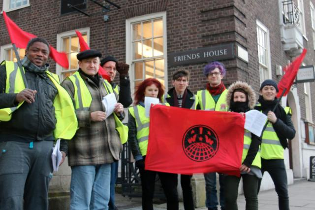 IWW demonstration in support of sacked zero hour workers, London Feb 2015